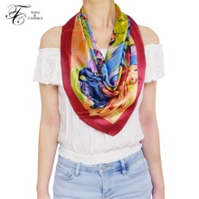 76*76cm 100% Silk Women's Scarf Graphic Print Lady's Shawl Luxurious Style For Female Silk Neckerchief Decorations High Quality