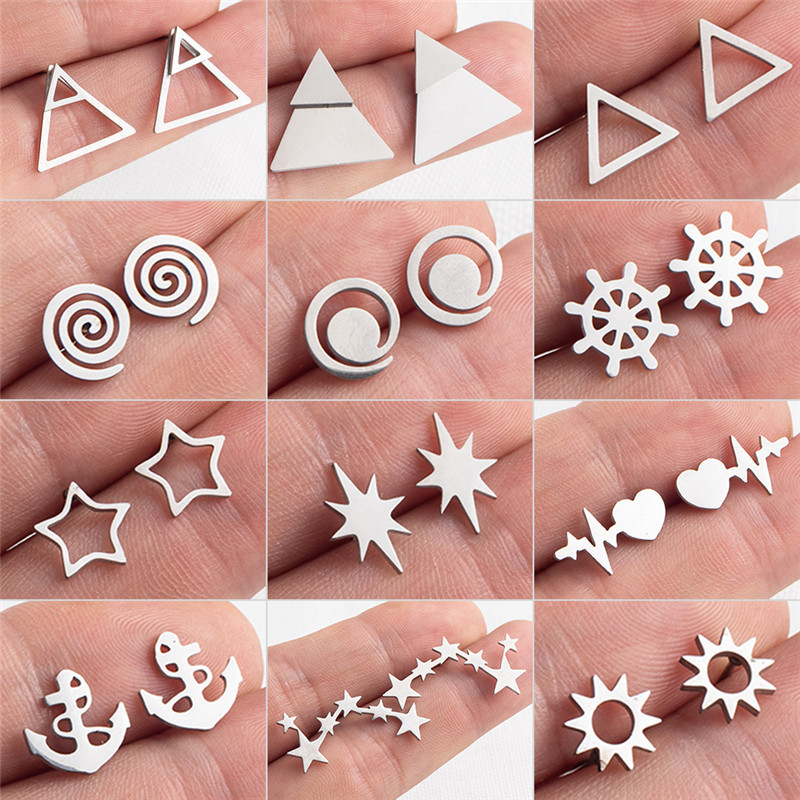 Fashion Small Gold Silver Color Star Sun Rudder Round Triangle Geometric Anchor Heartbeat Stud Earrings Women Girlfriend Gifts