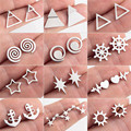 Модные маленькие золотые серьги-гвоздики в виде подсолнуха, круга, треугольника, геометрического якоря, сердцебиения, подарки для женщин и ...