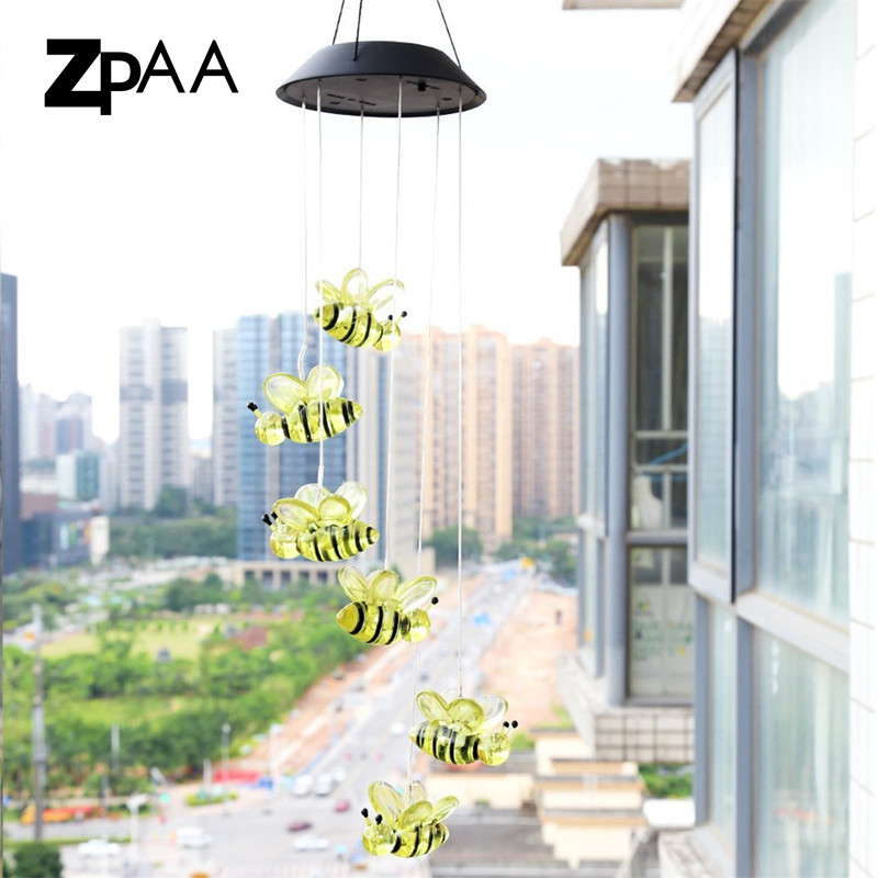 ZPAA Cute Bee Solar Power LED Wind Chime Lamp Light Color Changing for Home Garden Birthday Wedding Christmas Party DecorationZPAA Cute Bee Solar Power LED Wind Chime Lamp Light Color Changing for Home Garden Birthday Wedding Christmas Party Decoration