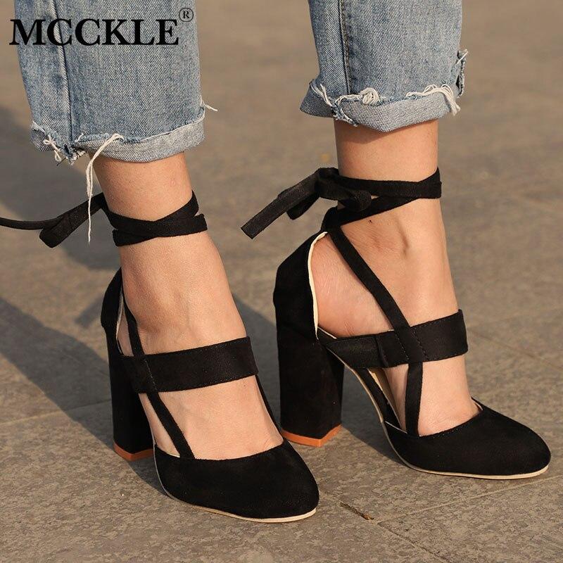 MCCKLE Plus Size Femminile Cinturino Alla Caviglia Tacchi Alti Flock Gladiatore scarpe Lace Up Tacco di Spessore Moda Hollow Donne Festa di Nozze pompe