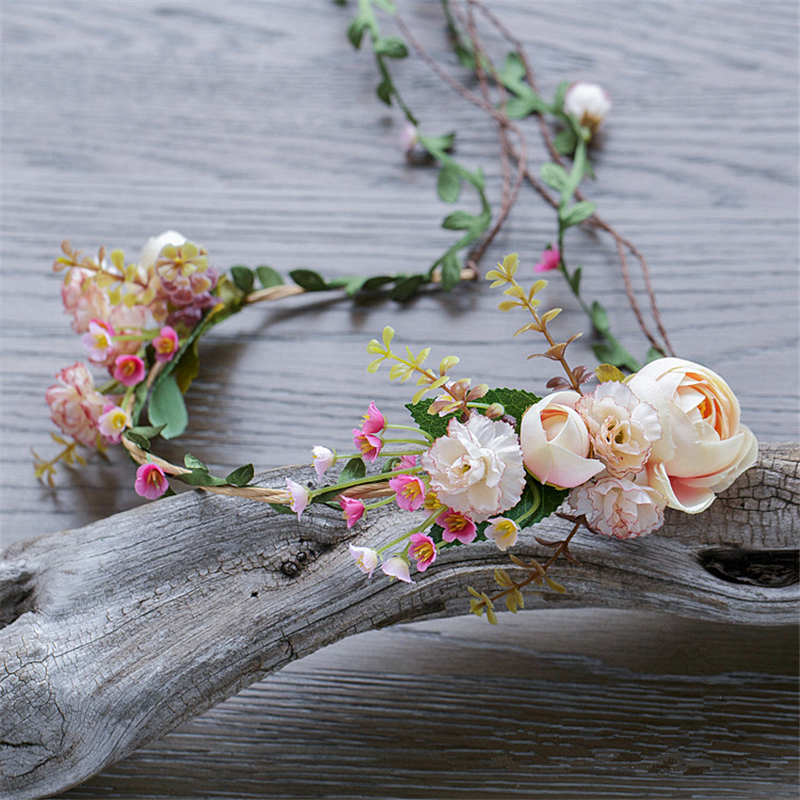 Bridal Flower Headband Garland Artificial Wedding Bouquets Fabric Flowers Hair Accessories Flores Decorations Casamento WIGO0880  2016 trendy fabric blooming peony flower corsage brooch woman hair decorations