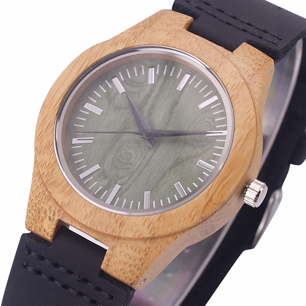 2018 Aismei New Natural Women Wooden watches Fashion Designer Green Face Genuine Leather ladies DressWood Quartz Watches