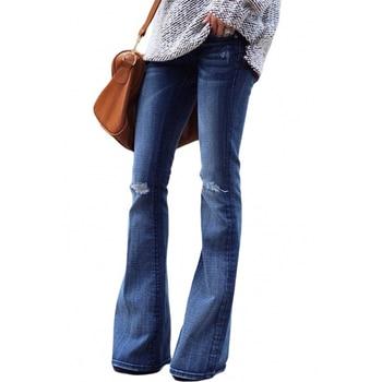 2020 High Waist Jeans Mom Boyfriend Flare Jeans For Women Black Denim Skinny Jeans Woman Wide Leg Female Pants Plus Size Ladies 3