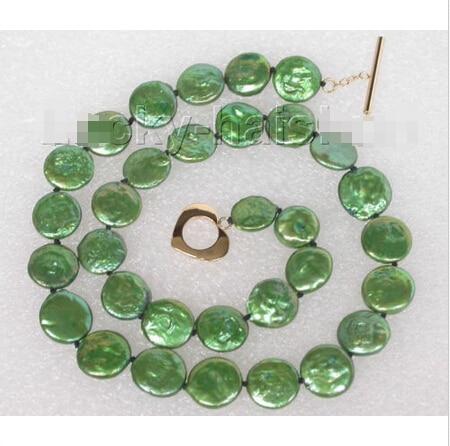 """Envío gratis >> >> >> genuino 17 """" 12 mm verde de fijación de la moneda perlas de agua dulce collar j8736"""