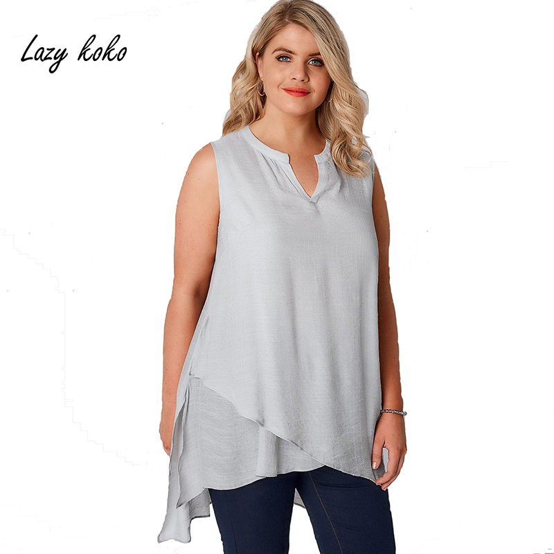 Lazykoko New Casual Style Plus Size Women Clothing Solid