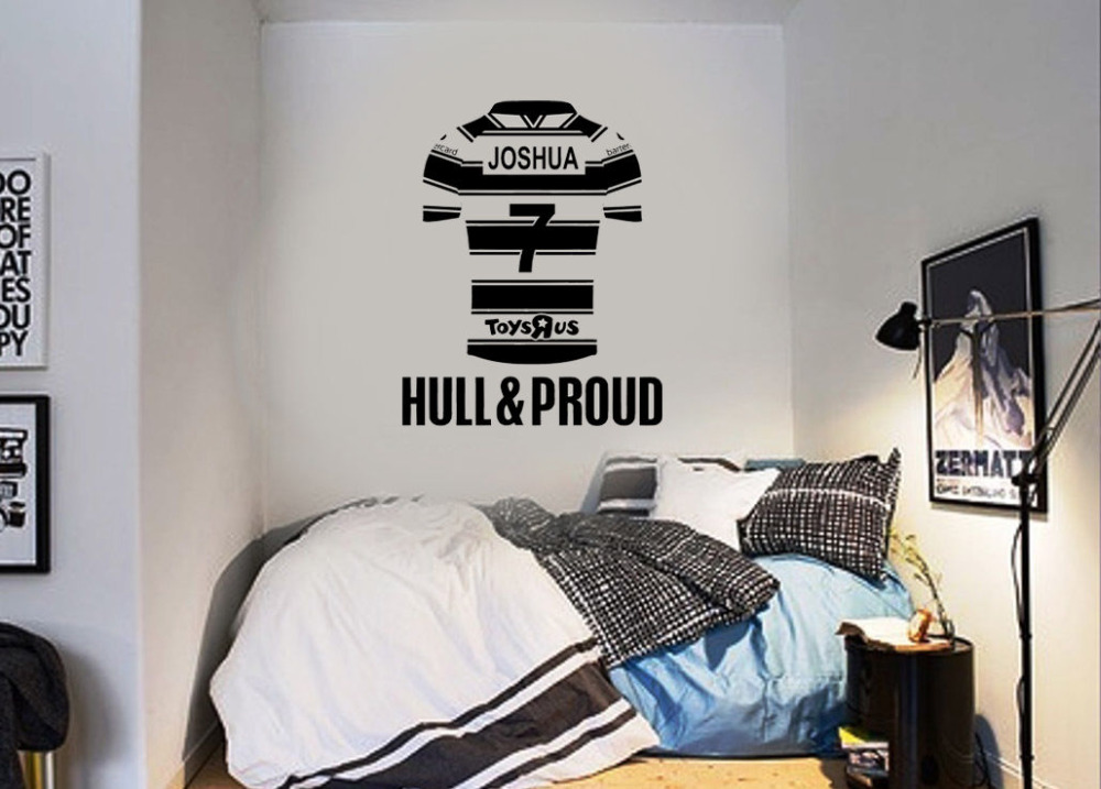 Hull FC Personalised Name on Jersey Wall Art Sticker Baby Name Wall decals Individual Wall Stickers For Boys Brithday Gift A259