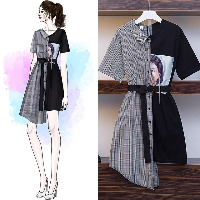 High Quality Irregular patchwork Dress Women 2019 New Casual office lady Vintage Dress with belt Vestido plus size 4