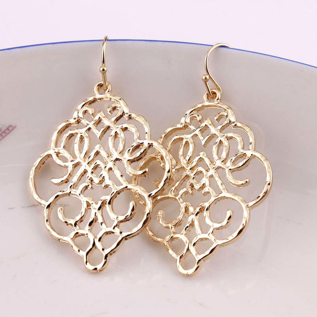 7880d52e7d6 US $1.37 31% OFF|ZWPON New Gold Filigree Morocco Dangle Earrings for Women  Fashion Jewelry Zinc Alloy Basic Statement Earrings Wholesale 2018-in Drop  ...