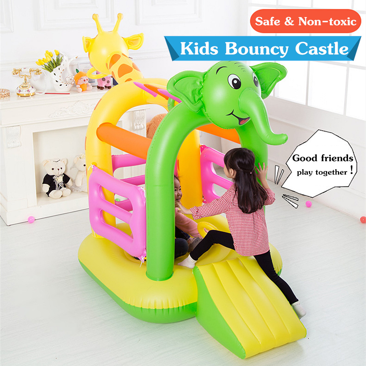 Inflatable Kids Children Bouncy Slide Castle Jumping Bouncer PVC Colorful Non-toxic House Outdoor Play Multi-functional Design зарядное устройство от прикуривателя с 2 мя usb вход 12 24 в 800 ma выход dc 5b 0 5 1000ma