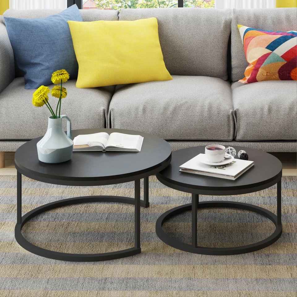 Steel Wood Nordic Style Home Wooden Coffee Table creative small apartment simple living room combination side mini round simple modern toughened glass small round bar table living room home leisure fashion high round table