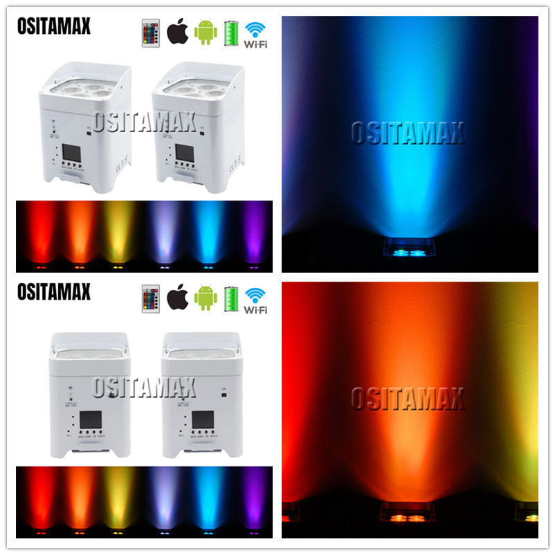 4x4x18 w 6in1 full color remoto wi fi inteligente sem fio da bateria par dj efeito de lavagem de parede de casamento decoração par pode iluminação Efeito de Iluminação de palco     - title=
