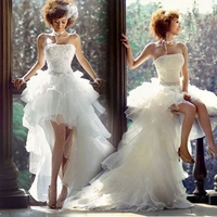 China High Low Wedding Dress Short Front Long Back Custom Made Wedding Gowns Weddingdress vestidos de noiva robe de mariage