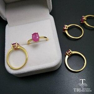 Image 3 - TBJ,100% naturalny prawdziwy rubinowy kamień pierścień w 925 sterling silver yellow gold fine kolor biżuterii dla kobiet z szkatułce