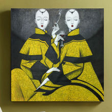 Hand-painted oil painting Modern Chinese contemporary Art Peking opera Woman Picture Painting Canvas