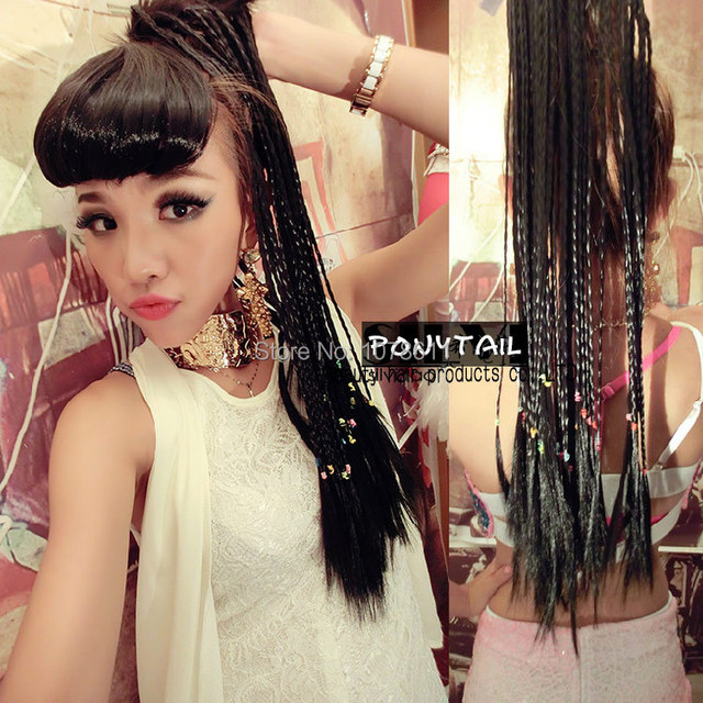 Long Drawstring Braids Ponytail Wig Synthetic Hair Weave Wig Fake