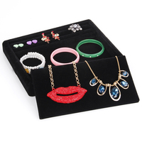 25 20 Wholesale Black Velvet Ring Earring Necklace Bracelet Bangle Display Tray For Jewelry Showcase Stand