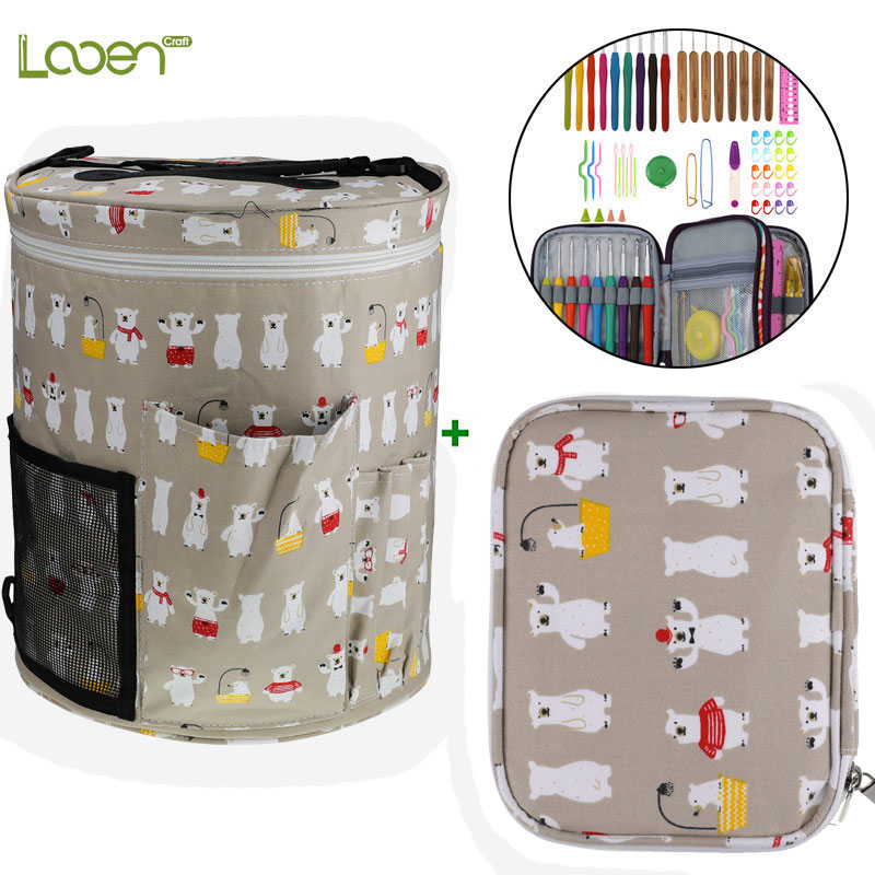 Looen Crochet Hooks Set With Empty Yarn Storage Bag Sewing Tools Cut Animal Knitting Needles DIY Needle Arts Craft With Case