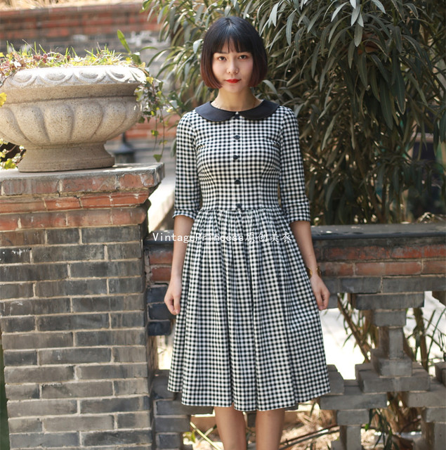 summer women vintage 50s gingham black peter pan collar half sleeve ...