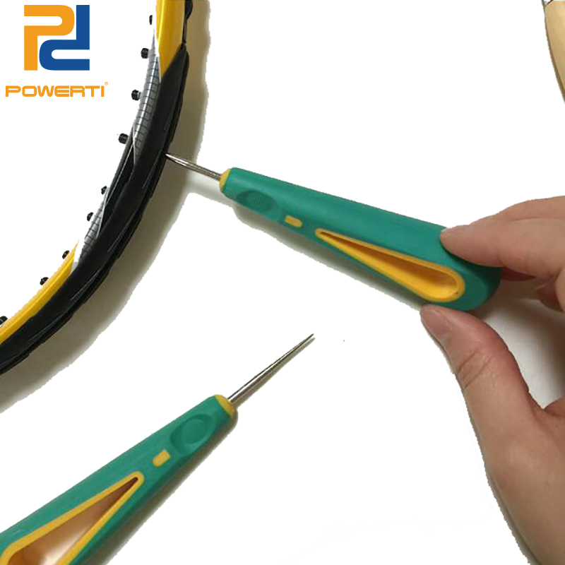 POWERTI 2pcs/lot Tennis Stringing Tools Mini Awl Staight Steel Tip Stringing Parts Badminton Racket Grommets Manual Tools