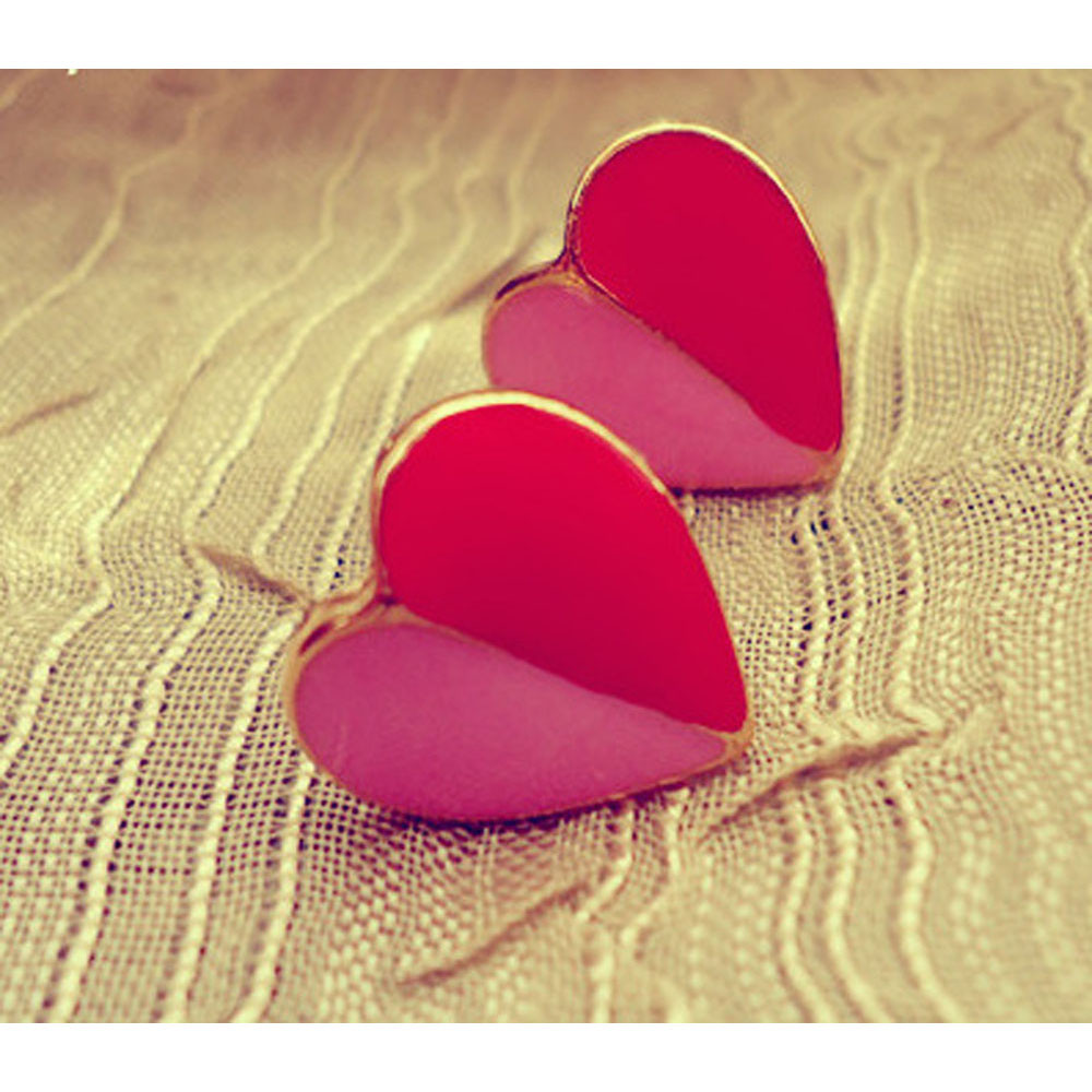 High Quality Elegant And Charming Pink And Red Peach Heart Stud Earrings For Women Jewelry Ladies Earrings Girls Hot Sales