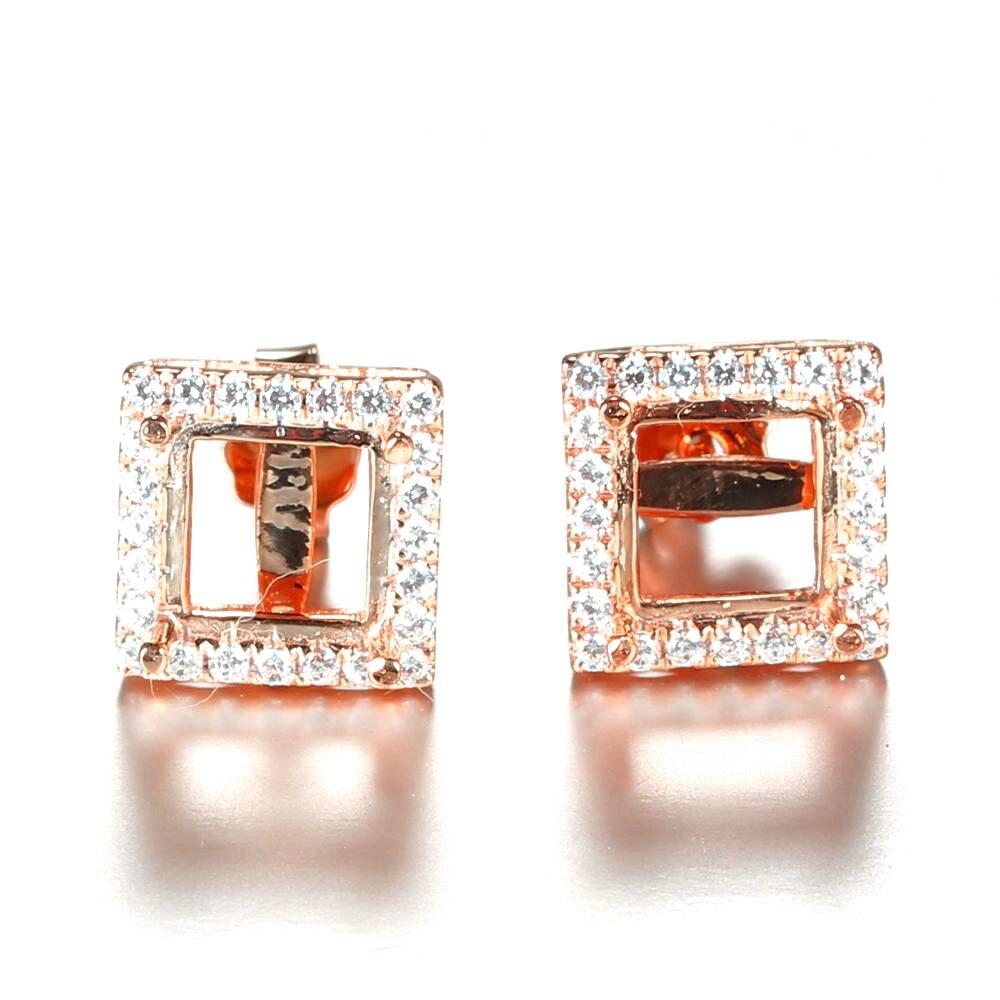 Femmes fiançailles mariage fête princesse coupe 6X6 MM Semi monture solide 14 K or Rose boucles d'oreilles bijoux de mariée