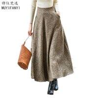 2018 Autumn Winter Vintage Wool Skirt Womens Elegant Ladies Slim A Line High Waist Thick Swing Maxi Long Skirts
