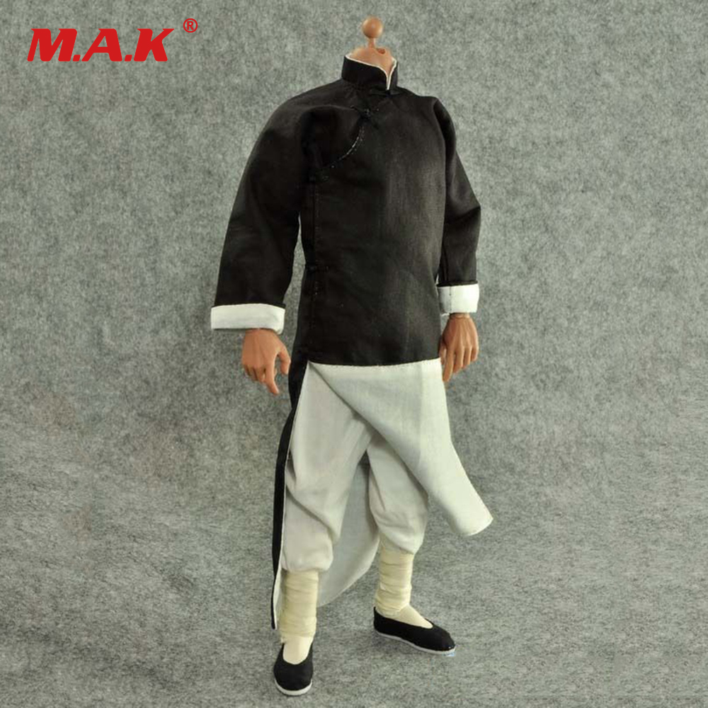 1: 6 Scale Black Long-Sleeved Robe Costume Classic Chinese Kung Fu Master Suit ZY15-14 For 12 Action Figure Accessories new pure linen retro men s wing chun kung fu long robe long trench ip man robes windbreaker traditional chinese dust coat