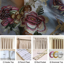 High Quality European 3D Embroidered Peony Tulle Voile Curtains for Living Room Window Curtains for the Bedroom Sheer Curtains