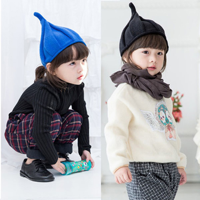 Hot Fashion Autumn Winter Knitted Pinnacle Beanie Children Wizard Pointy Hat Watermelon Cap Novel Onion Solid Color Kids Hats