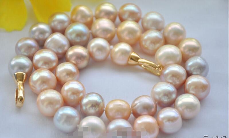 Libre z6684 lustre A + + 12 mm ronda rosa lavanda de agua dulce collar de perlas de 17 pulgadas
