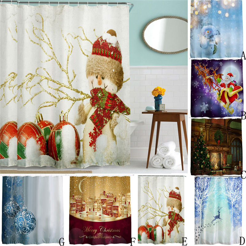 Shower Curtain High Quality Christmas 3D <font><b>Kids</b></font> Waterproof Mildewproof Polyester Bathroom Decor With Hooks New