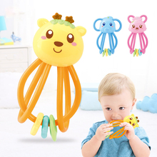 Baby Silicone Toy teether Hand Bell Manhattan Ball Rattle BPA Free High Temperature Boiled Baby Rattle