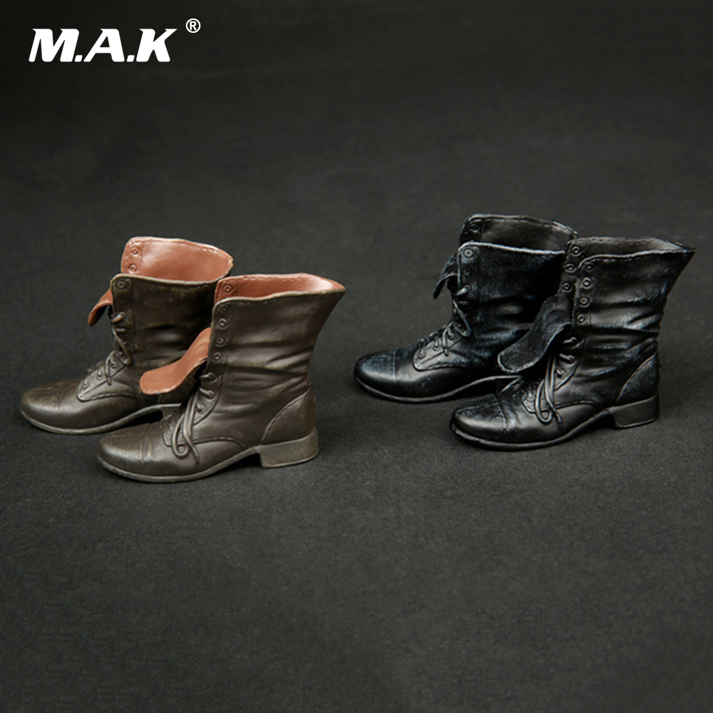 1/6 Scale Male Figure Shoes Black/Brown Mens Boots Casual Shoes for 12 Figures Bodies Dolls Accessories with Feet Inside
