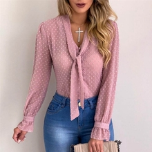 Women Sexy Polka Dot Tops Blouses Autumn Elegant Long Sleeve V-Neck Chiffon Blouse Spring Lady Office Work Shirts Plus Size 5XL