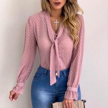 цена на Women Sexy Polka Dot Tops Blouses Autumn Elegant Long Sleeve V-Neck Chiffon Blouse Spring Lady Office Work Shirts Plus Size 5XL