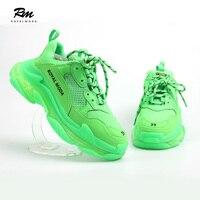 2019 новый высококачественный настроить брендов BAL флуоресцентный зеленый тройной S с прозрачной подошвой кроссовки balenciaca обувь EU39 EU43