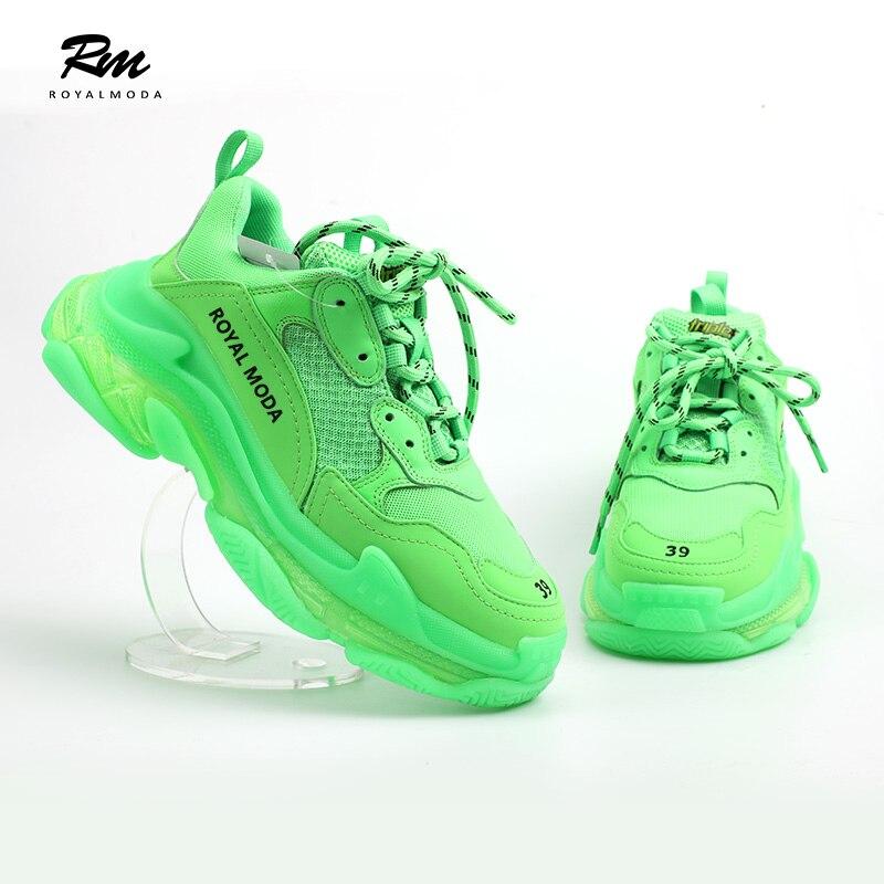 2019 nouvelle haute qualité personnaliser marques BAL fluo vert Triple S avec des baskets à semelle claire balenciaca chaussures EU39 EU43