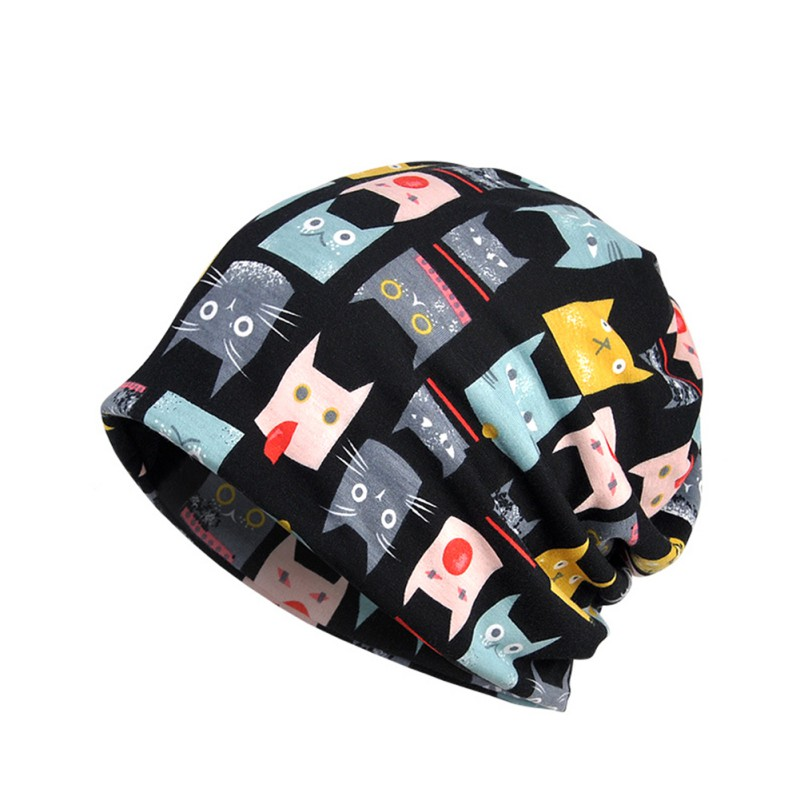 Hats Neck-Warmer Running-Cap Winter Hiking Breathable Autumn Print Scarf Stretch-Hat