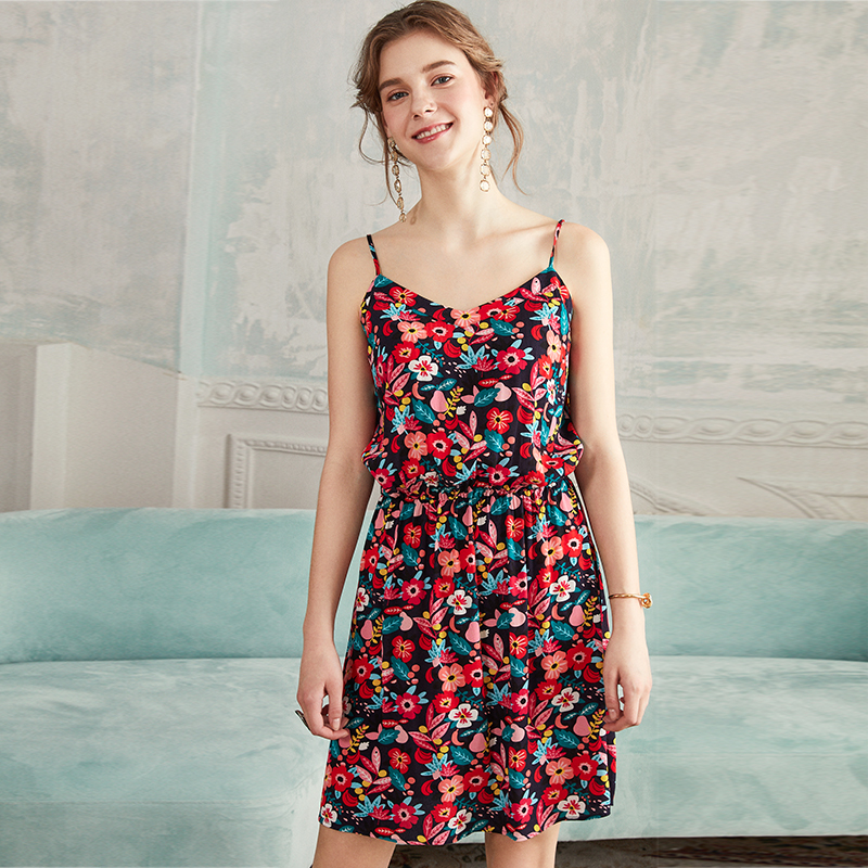 Beautiful and colorful flowers New holiday style elastic waist romantic print dress