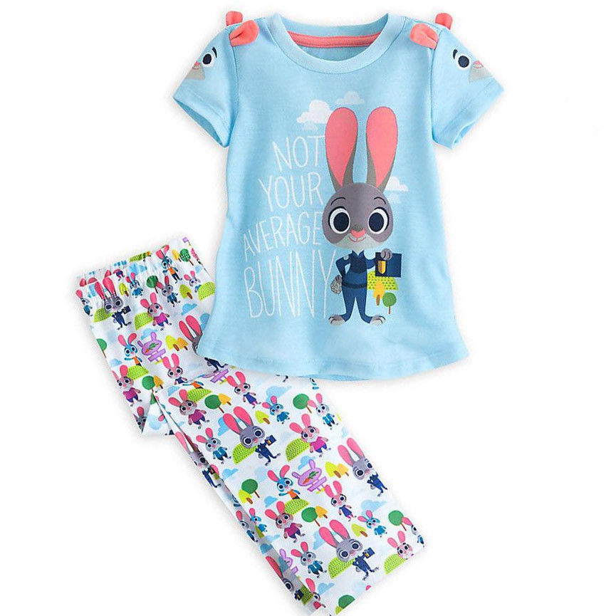 Girls 2Pcs  Zootopia Summer Outfits baby Kids Girl Short Sleeve Outfits Set bunny T shirt Tops + rabbit Long Pants 2-7T 2pcs boy kids long sleeve tops pants nightwear sleepwear pajama pyjamas outfits