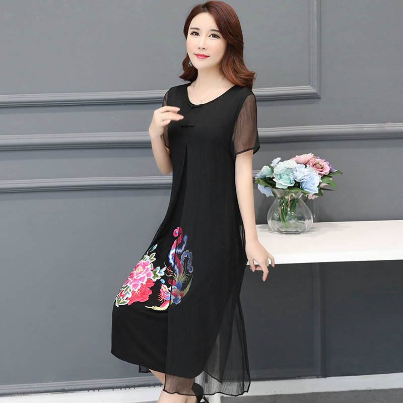 2018 summer new fashion dresses women vintage embroidery floral drsses elegant retro embroidered thin shade chiffon plus size