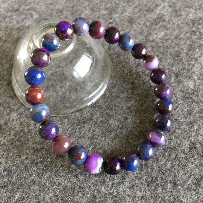 South Africa High Quality Natural Genuine Dark Purple Blue Sugilite Stretch Finish Bracelet Round beads 7.5mm 05144 australia south africa 2nd odi