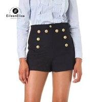 Модные шорты для женщин для весна двубортный повседневные шорты Femme уличный стиль черные женские