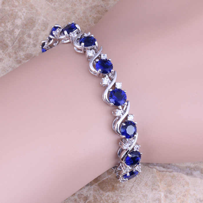 Blue Cubic Zirconia White CZ 925 Sterling Silver Link Chain Bracelet 7 inch For Women  S0264A
