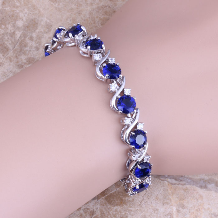 Blue Cubic Zirconia White CZ 925 Sterling Silver Link Chain Bracelet 7 inch For Women S0264A titanium steel link cubic zirconia studded couple bracelet
