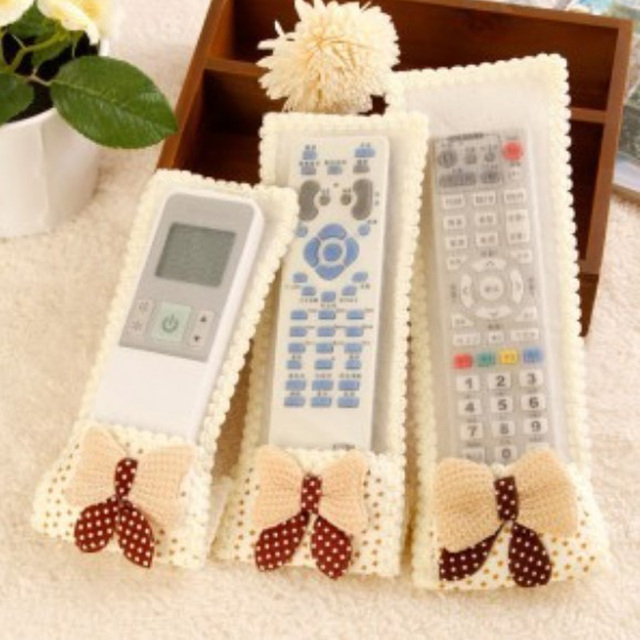 TV Air Conditioning Remote Control Case Cover Bowknot Lace Cover Greaseproof Anti-Dust Bowknot Mini Cover Bags