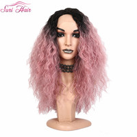 Suri Hair lace front wig American synthetic wig for women Ombre green two tone black pink wig cosplay fake hair Natural Hairline