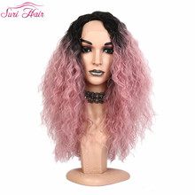 Suri Hair lace front wig American synthetic wig for women Ombre green two tone black pink wig cosplay fake hair Natural Hairline pink wig ombre