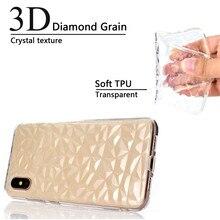 10pcs a Lot 3D Diamond Grain Crystal Texture Silicone Case for Xiaomi 8 Redmi 5 Note 5A 6 Soft TPU Capa
